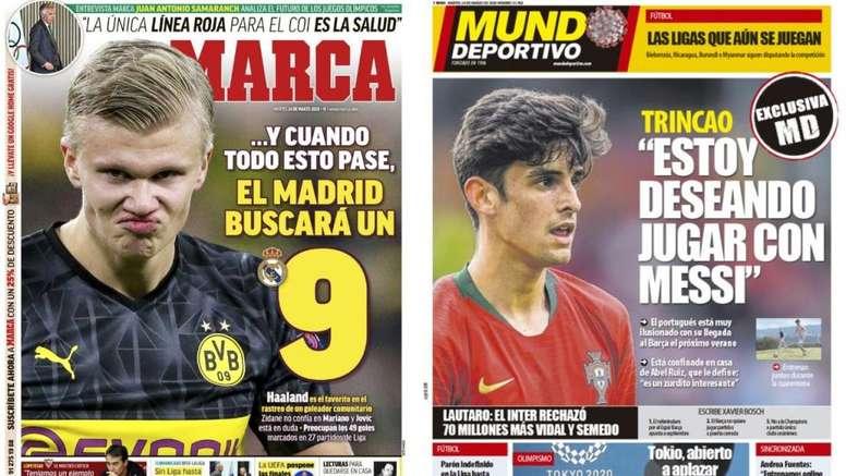As capas da imprensa esportiva de 24 de março de 2020. Marca/MD