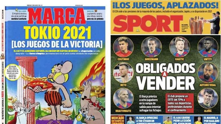 As capas da imprensa esportiva de 25 de março de 2020. Marca/Sport
