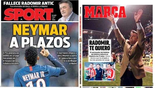 Les Unes des journaux sportifs en Espagne. Sport/Marca