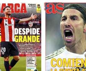 Les Unes des journaux sportifs en Espagne du 14/04/2020. AS/Marca
