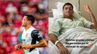 Maxi Gómez se llevó un duro golpe en el Granada-Valencia. Captura/Instagram/maxi_gomez9