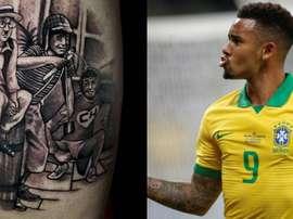 Gabriel Jesus got a tattoo of Chavo and Chapulín. EFE/Instagram/GabrielJesus