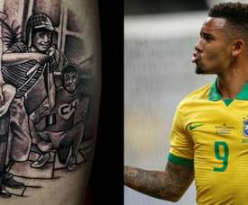Le nouveau tattoo de Gabriel Jesus. EFE/Instagram/GabrielJesus