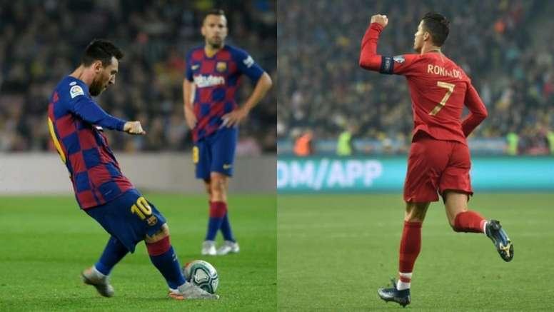 Goals from free kicks: Messi v Cristiano. EFE/AFP