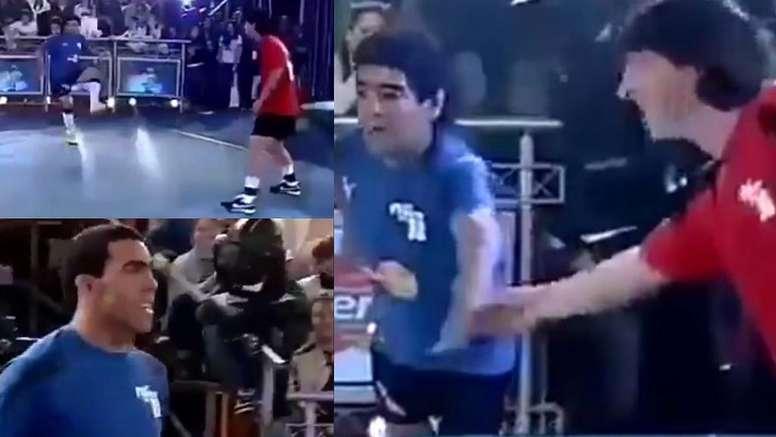Messi y Maradona barrieron a Tévez y su acompañante. Captura/CanalTrece