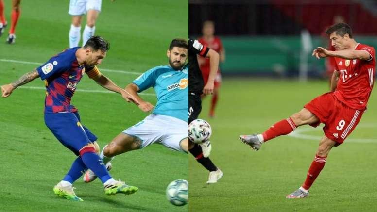 Un ex del Bayern comparó a Messi y Lewandowski. AFP