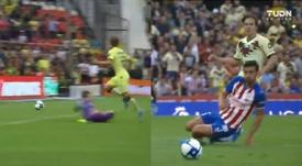 Córdova encarriló con su doblete el partido para el América. Capturas/TUDN