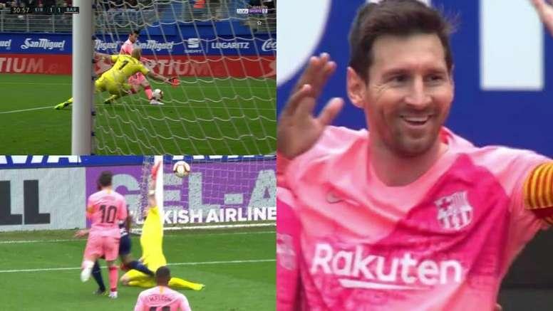 Messi bisou e mostrou que não tem medo de Mbappé. Capturas/beINSports