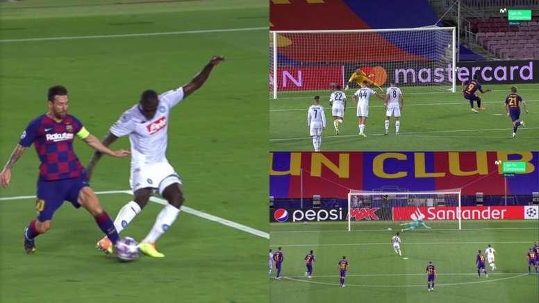 Dos penaltis y tensión con Messi en el Barça-Nápoles. Capturas/MovistarLigadeCampeones