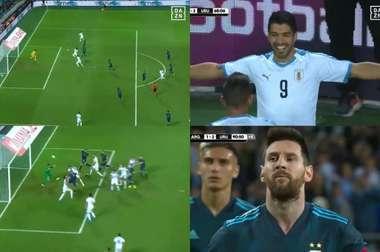 De Cavani a Messi, os gols de Argentina-Uruguai. Captura/DAZNEspaña