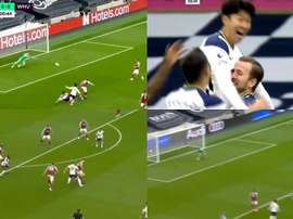 Montage of Harry Kane's goals and plays against West Ham. Screenshots/DAZN