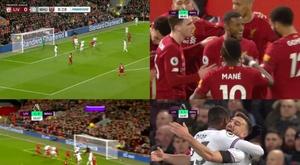 Wijnaldum a ouvert le score pour Liverpool, mais Diop lui a répondu 3 minutes après. Capture/DAZN/NB