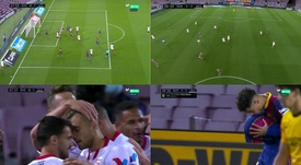 The Barcelona game started with a bang. Screenshot/Movistar