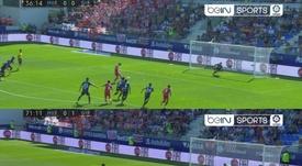 Los dos goles, desde los once metros. Captura/beINSports
