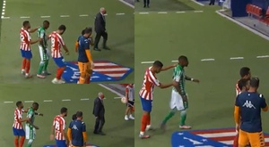 Lição número 1: não se pisa no escudo do Atleti. Captura/MovistarLaLiga