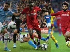 Mahrez, Mané e Salah, indicados a melhor jogador africano do ano. Montaje/AFP