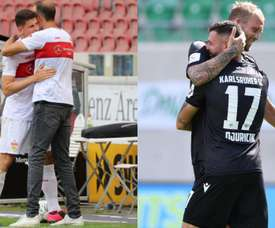 Stuttgart subiu para a elite alemã e Karlsruher evitou a queda. AFP