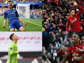Les 8 candidats au titre de meilleur jeune de Premier League. AFP