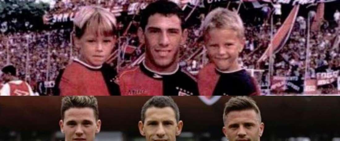 Maxi, Denis y Alexis Rodríguez coincidieron ocho minutos en el campo. Twitter/Newells