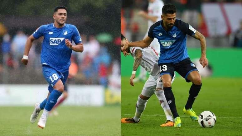 Amiri (i) y Demirbay (d) volverán a enfrentarse al Hoffenheim. AFP