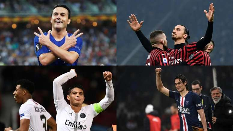 Pedro, Ibrahimovic, Thiago Silva e Cavani estão prestes a trocar de clubes. EFE - AFP