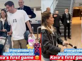 Sergi Roberto's daughter visits Camp Nou at age of three months. Captura/sergiroberto
