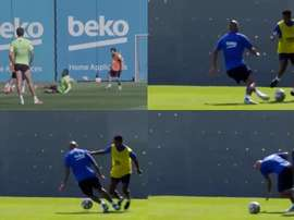 Vidal está sofrendo para recuperar o ritmo. Capturas/Twitter/FCBarcelona