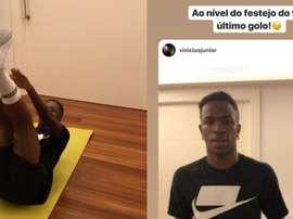 CR7 elogia Vinicius por desafio aceito pelo brasileiro. Instagram/viniciusjunior - cristiano
