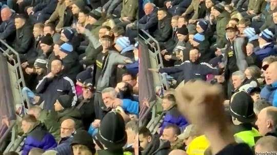 L'autre visage du derby de Manchester : altercations et dégradations. Twitter/joeasbridge