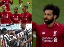 Le but de Newcastle-Liverpool est mouvementé. Captures/ESPN