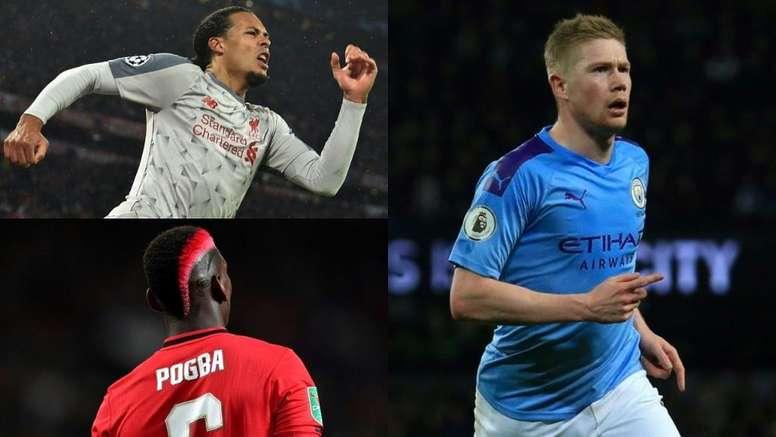 Van Dijk, Pogba e De Bryune estão entre os mais bem pagos. AFP
