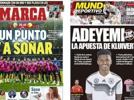 Estas son las portadas de la prensa deportiva de hoy. Montaje/Marca/MD