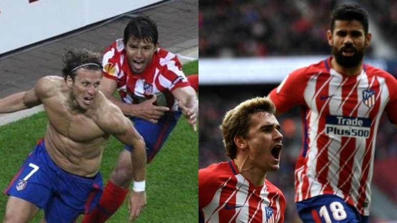 Agüero y Forlán buscaban el gol en 2010... ocho años después lo harán Costa y Griezmann. BeSoccer