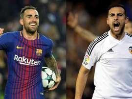 Dilema de Alcácer en la final de Copa: ¿Barça o Valencia? Montaje/EFE