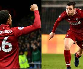 Trent Alexander-Arnold and Andrew Robertson are two key men for Liverpool. Montaje/AFP