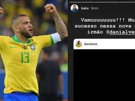 Kaká se empolga com a chegada de Daniel Alves ao São Paulo. AFP/Instagram