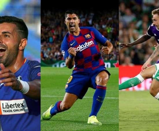 Os mais matadores desta temporada na Espanha: Ángel, Luis Suárez e Loren Morón. Montaje/EFE