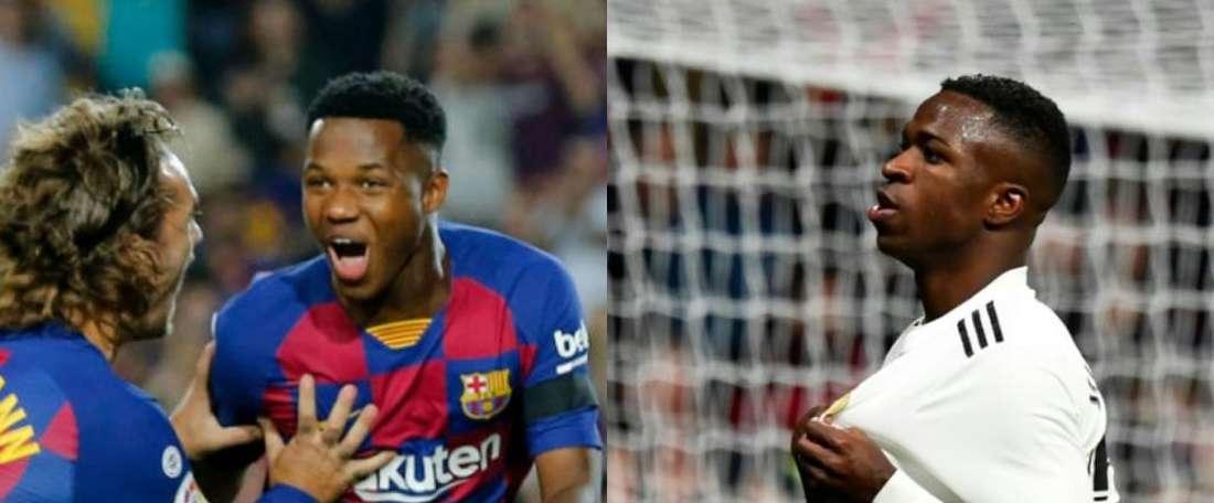 Ansu Fati e Vinicius são citados na relação de promessas feita por jornal inglês. AFP
