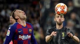 Barça y Juventus no gestionan igual un traspaso ya confirmado. Montaje/AFP