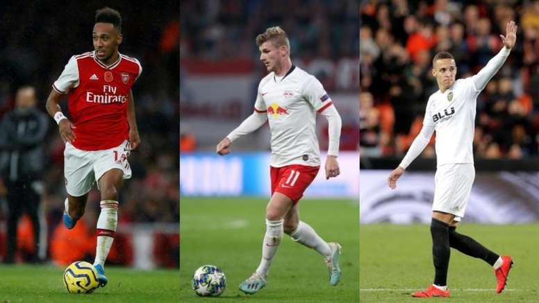 El Barça quiere un '9': Werner, Rodrigo o Aubameyang. AFP/EFE