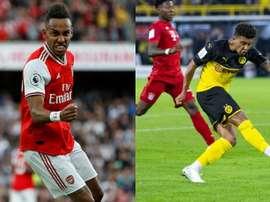 Deux rumeurs qui envoient Aubam et Jadon Sancho au Real Madrid. Montage/AFP