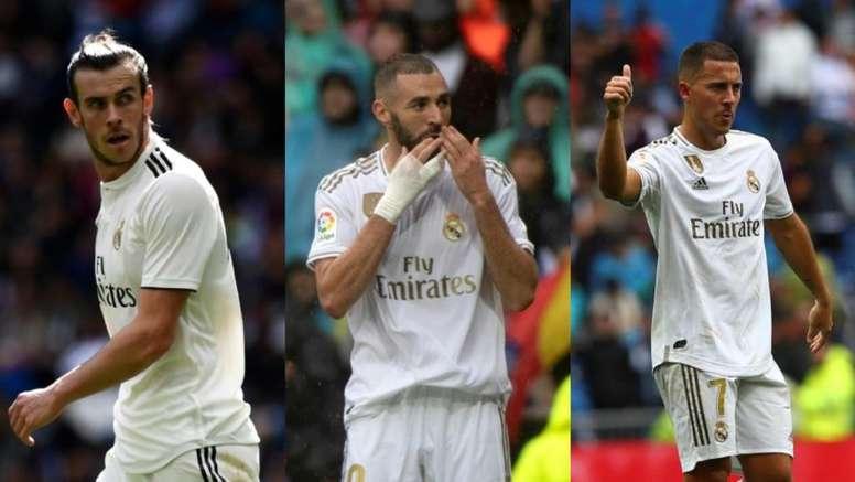 Bale, Benzema y Hazard podrían jugar juntos por primera vez ante el PSG. AFP