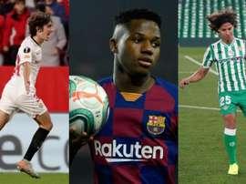 Seis jovens de LaLiga entre as promessas da UEFA. Montaje/EFE