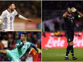 Buffon, Messi and Ronaldo. BeSoccer