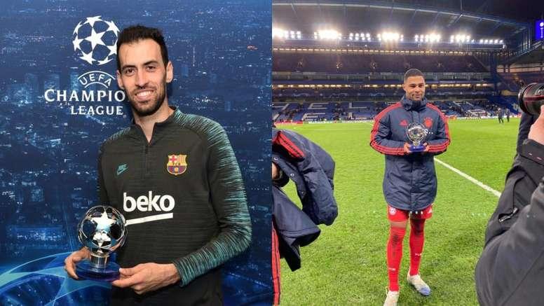 Busquets e Gnabry, os 'MVP' da rodada para a UEFA. Montaje/FCBarcelona/BayerndeMúnich