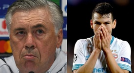Ancelotti valoró el nivel de Lozano. Montaje/BeSoccer