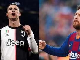 CR7 correndo atrás da marca de Messi. AFP/EFE