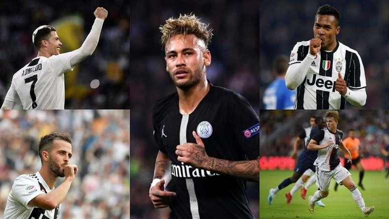 Le onze de la Juventus à 600 millions avec Neymar. Montage/EFE/AFP