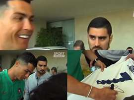 Cristiano a signé un maillot du Real Madrid. Capture/SportMediaset