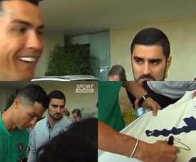 Ronaldo stopped to speak to fans. Captura/SportMediaset
